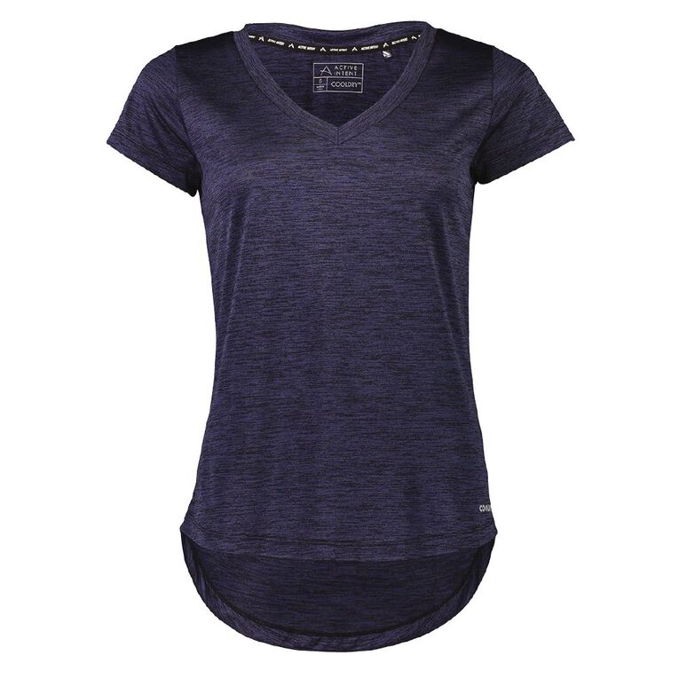 Active Intent Women's V Neck Marl Tee, Blue Dark MIDNIGHT, hi-res image number null