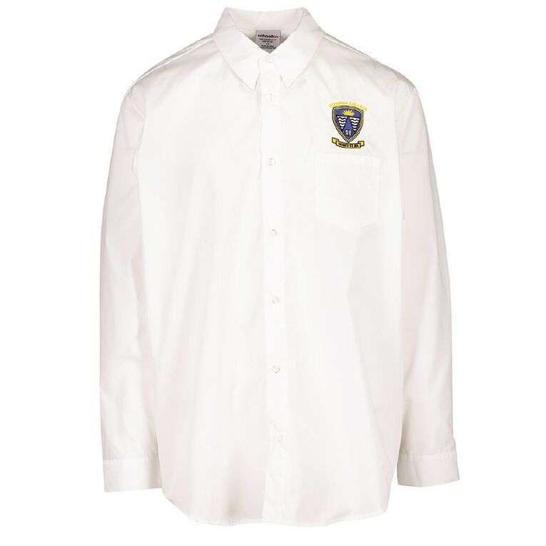 Schooltex Porirua College Long Sleeve Shirt with Embroidery, White, hi-res