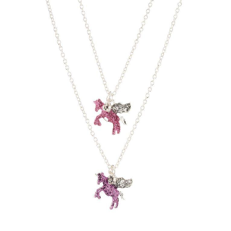 Kids Unicorn Necklace, Silver, hi-res