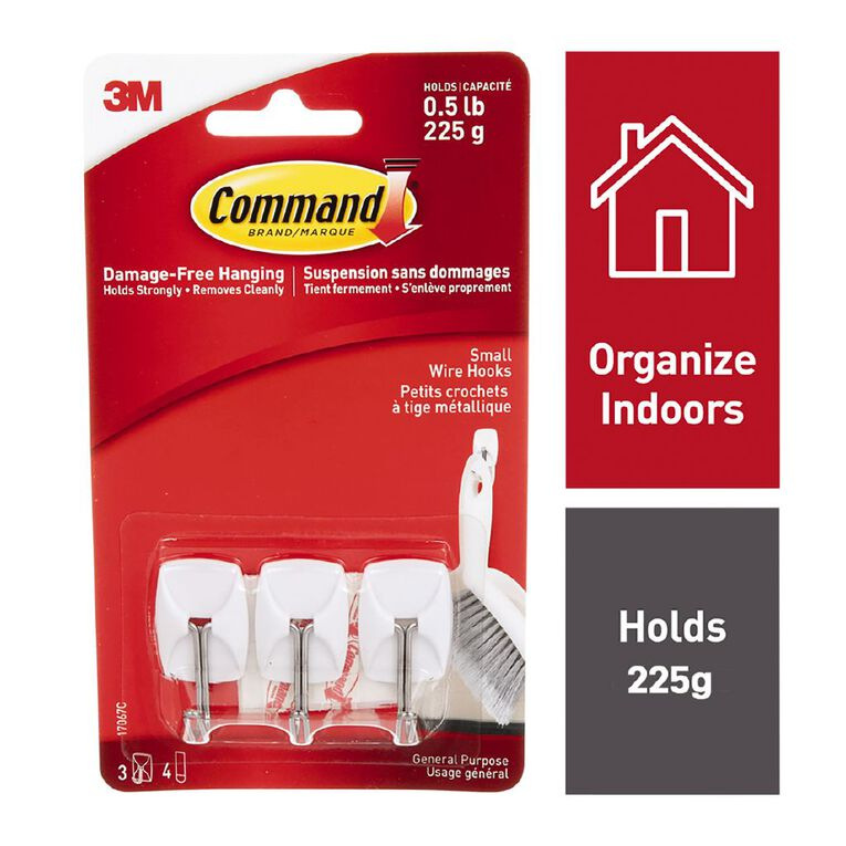 Command Wire Hooks White Small, , hi-res