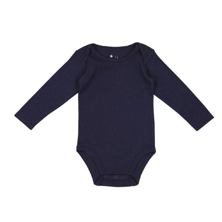 Young Original Baby 3 Pack Long Sleeve Bodysuits, Blue Dark, hi-res