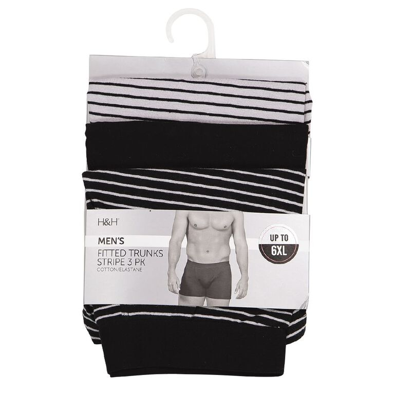 H&H Men's Stripe Trunks 3 Pack, Black, hi-res