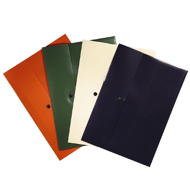 Office Supply Co Document Wallet Flap with Dome Closure 4 Pack A4, , hi-res