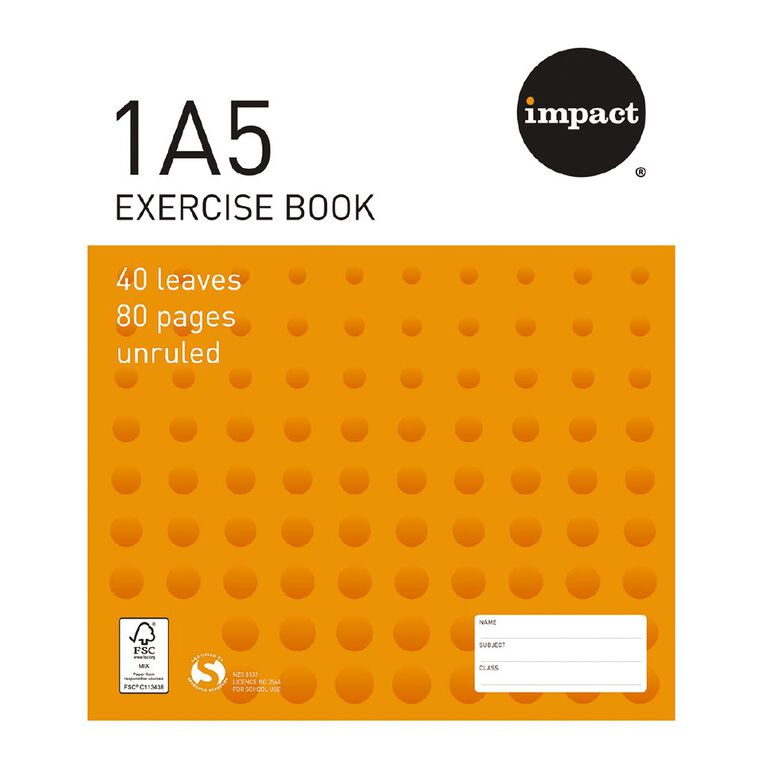 WS Exercise Book 1A5 (UB) Blank 40 Leaf Orange, , hi-res