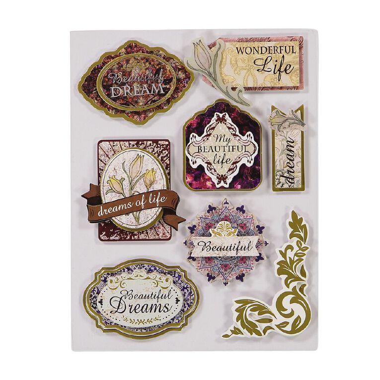 Uniti Heritage Dimensional Stickers 8 Pieces, , hi-res
