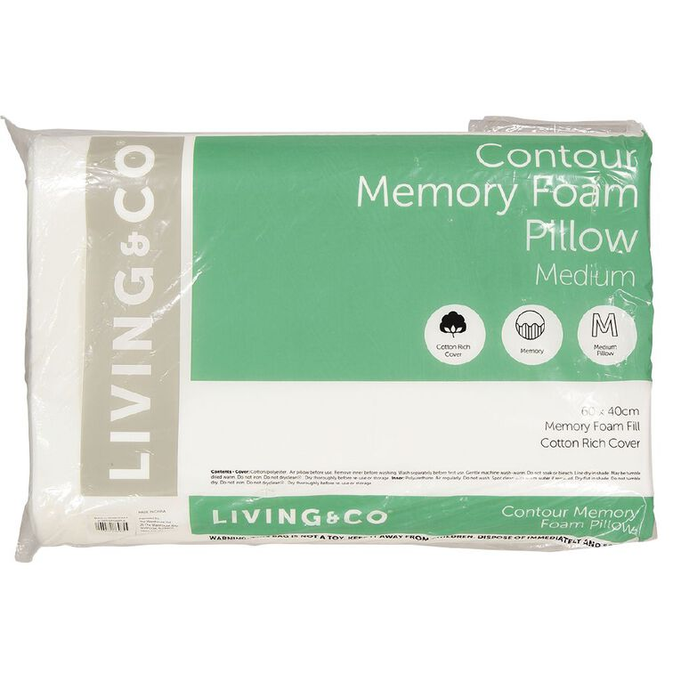 Living & Co Pillow Contour Memory Foam White 60cm x 40cm, White, hi-res image number null