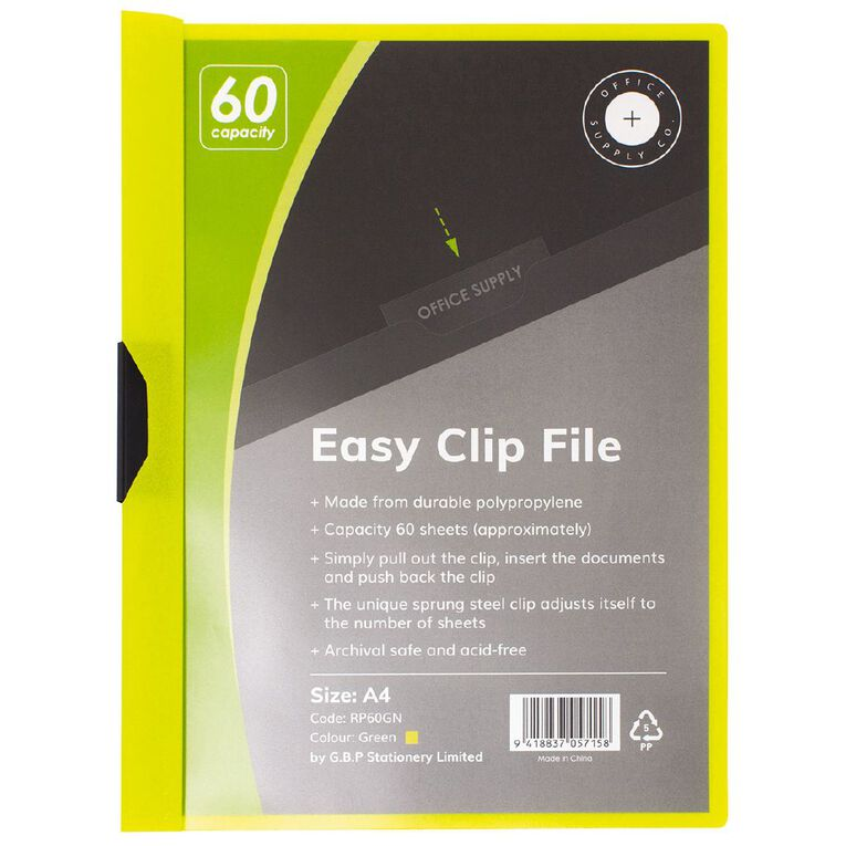 Office Supply Co Easy Clip File 60 Capacity Green A4, , hi-res