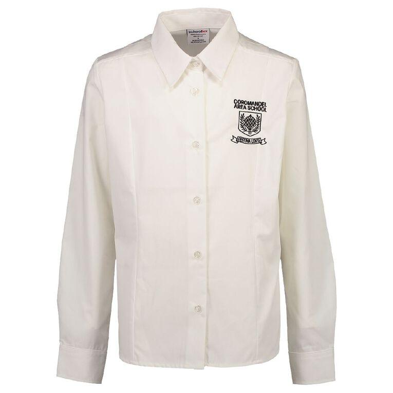 Schooltex Coromandel Area School Long Sleeve Blouse, White, hi-res