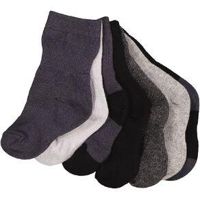H&H Infants Boys' Stay On Crew Socks 7 Pack