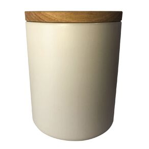Living & Co Ceramic Canister with Bamboo Lid White 13cm