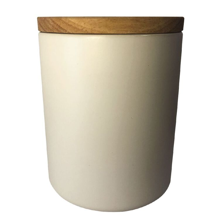 Living & Co Ceramic Canister with Bamboo Lid White 13cm, , hi-res