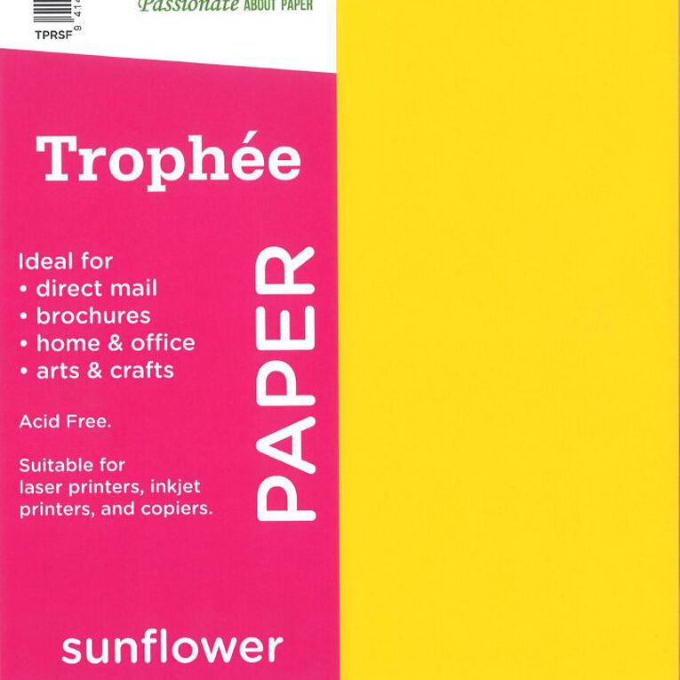 Trophee Paper 80gsm 500 Pack Sunflower Yellow A4, , hi-res