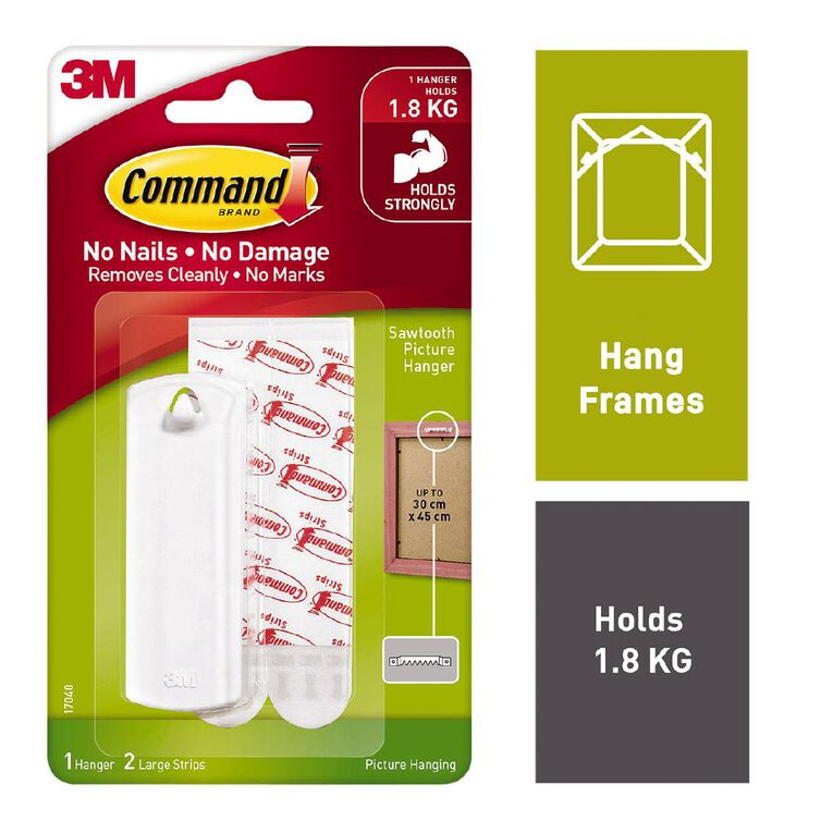 Command Sawtooth Picture Hook White, , hi-res