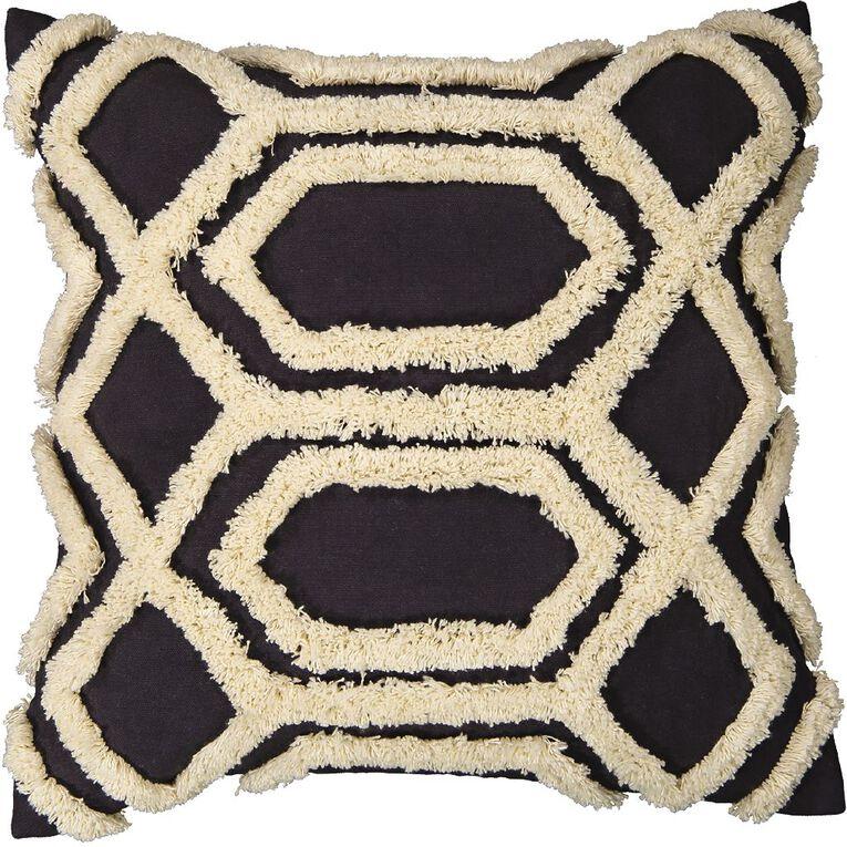 Living & Co Tufted Diamond Cushion Navy 45cm x 45cm, Navy, hi-res