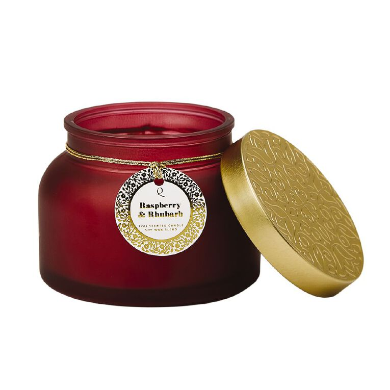 Living & Co Luxury Raspberry and Rhubarb Jar Candle Red 12oz, Red, hi-res