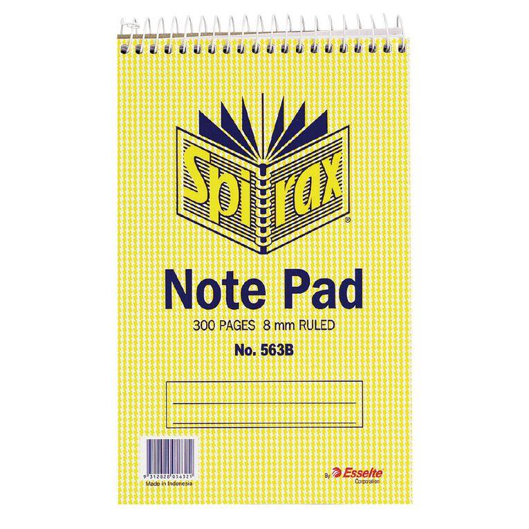 Spirax Notebook Spiral No.563B 300pg 8mm Ruled 200 x 127mm Yellow, , hi-res