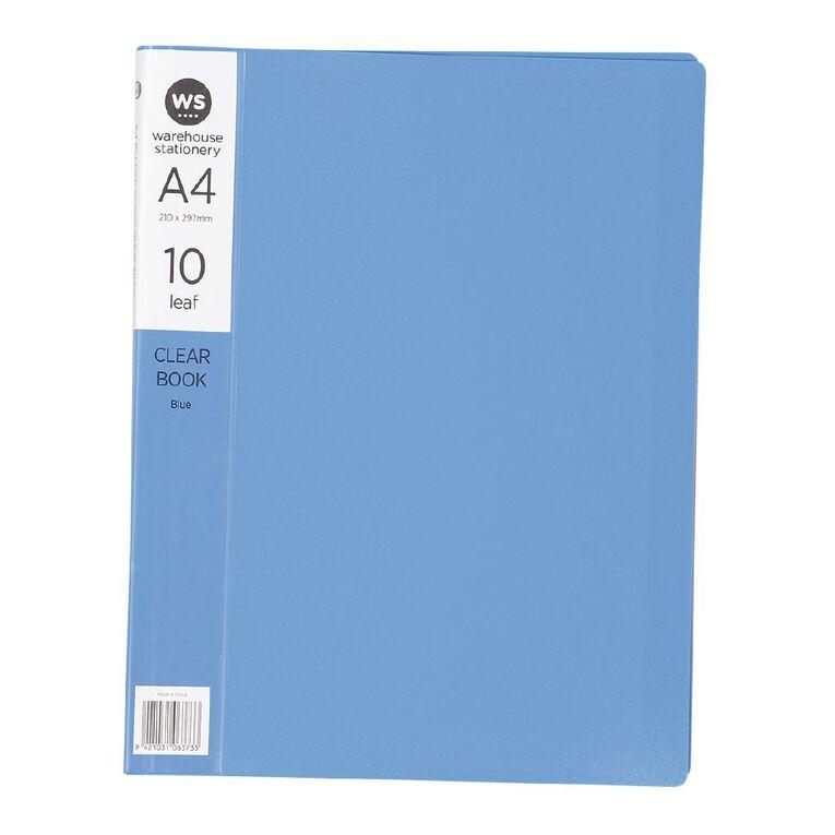 WS Clear Book 10 Leaf Blue A4, , hi-res
