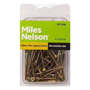 Miles Nelson Yellow Zinc Square Drive Screws 8mm x 50mm