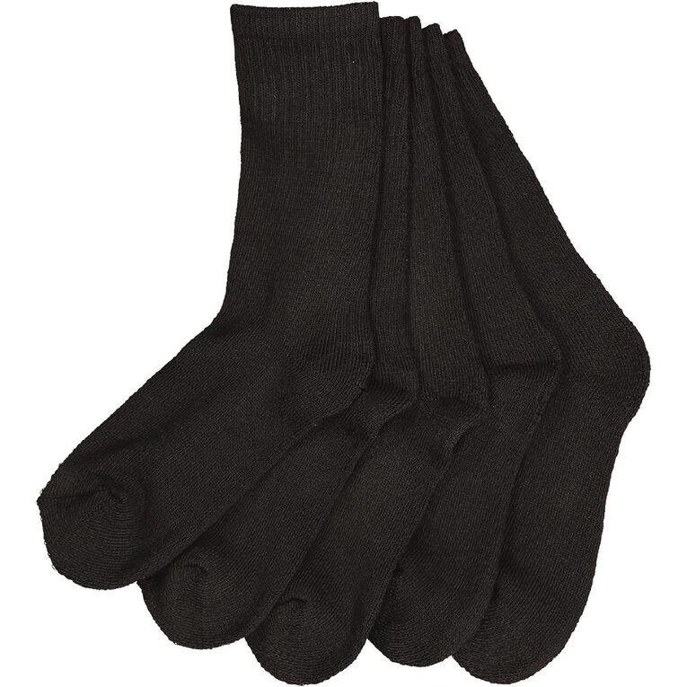 Active Intent Kids' Basic Crew Sport Socks 5 Pack, Black, hi-res