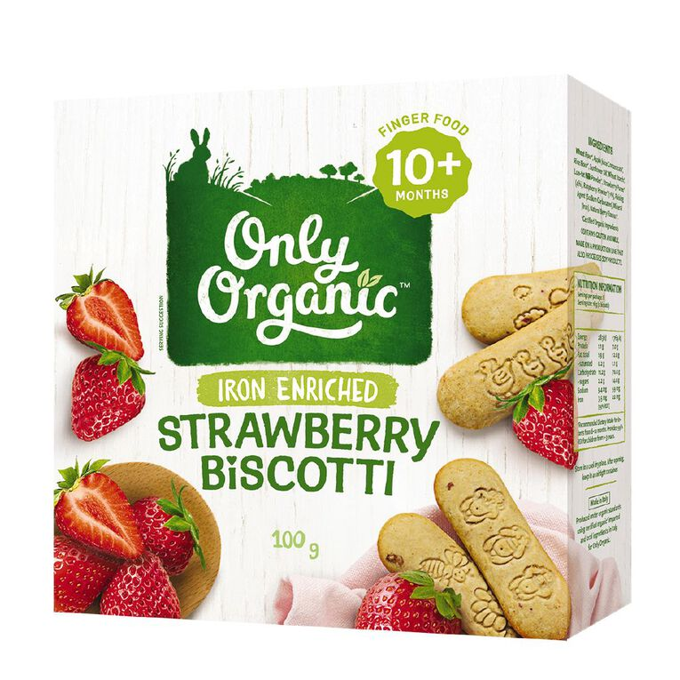 Only Good Only Organic Strawberry Biscotti 100g, , hi-res