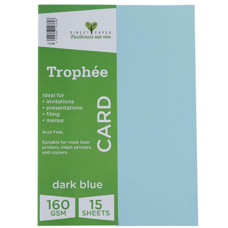 Trophee Card 160gsm 15 Pack Blue Dark A4, , hi-res