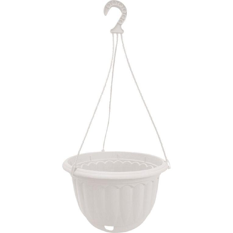 Baba Plastic Self Watering Hanging Pot White 26cm, , hi-res