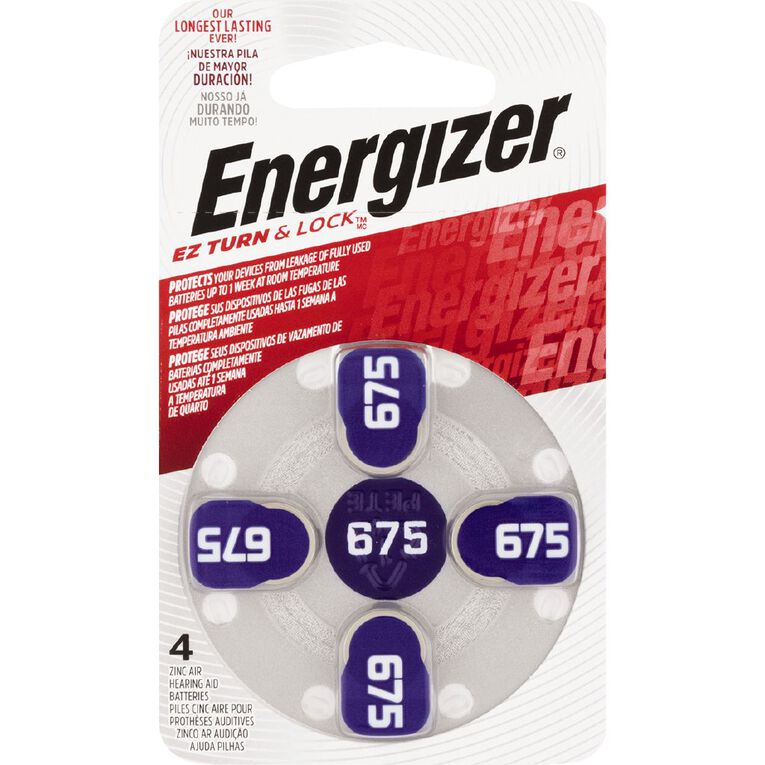 Energizer Hearing Aid Batteries AZ675 4 Pack, , hi-res