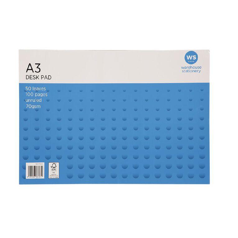WS Desk Pad 50 Leaf 70gsm Fsc Mix White A3, , hi-res