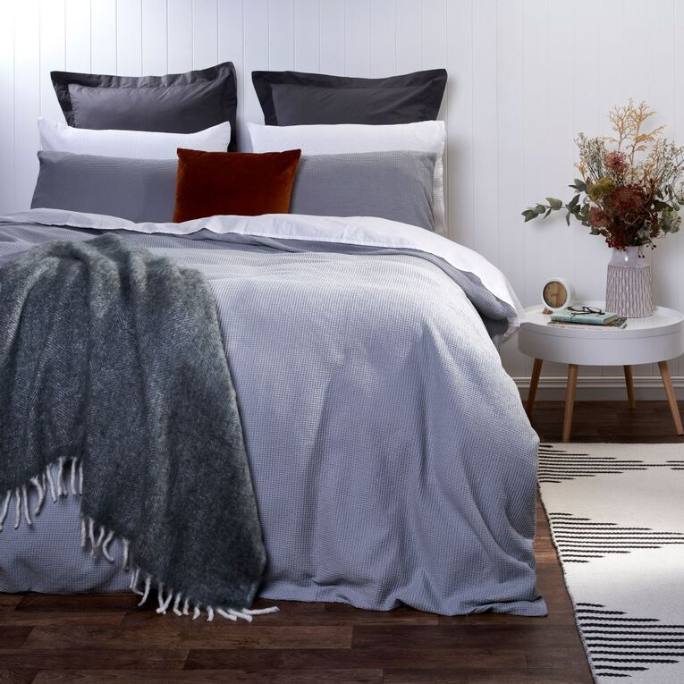 Living & Co Duvet Cover Set Luxury Waffle High Rise Grey Queen, Grey, hi-res