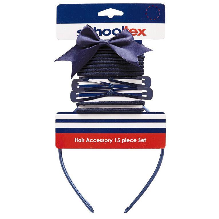 Schooltex Hair Accessories Set 15 Piece Set Navy, , hi-res