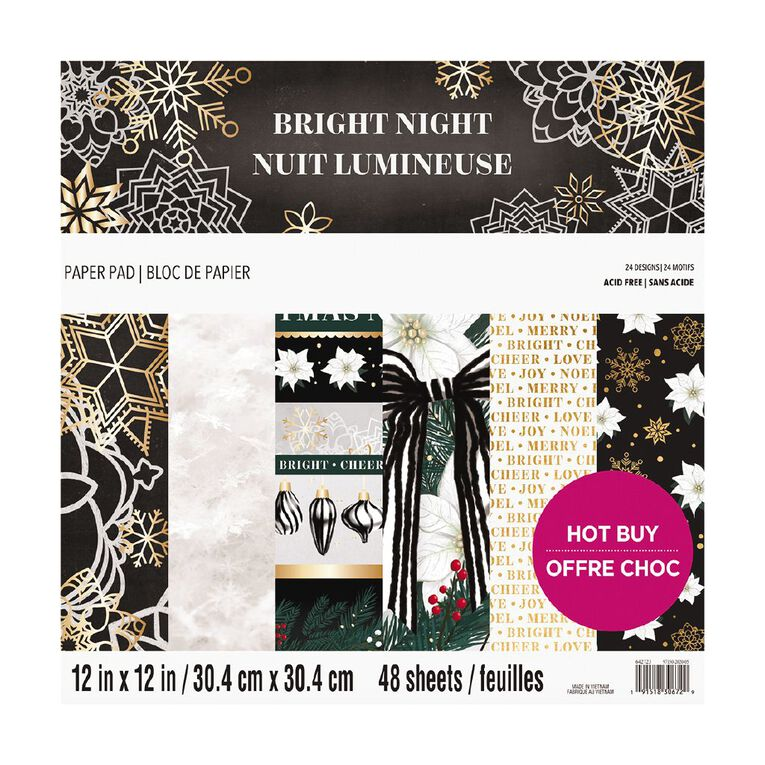 Craft Smith Christmas Pad Bright Night 48 Sheets 12in x 12in, , hi-res
