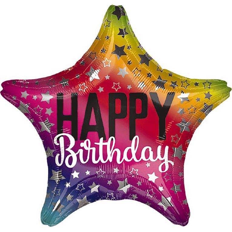 Anagram Rainbow Star Birthday Foil Balloon Standard 17in, , hi-res