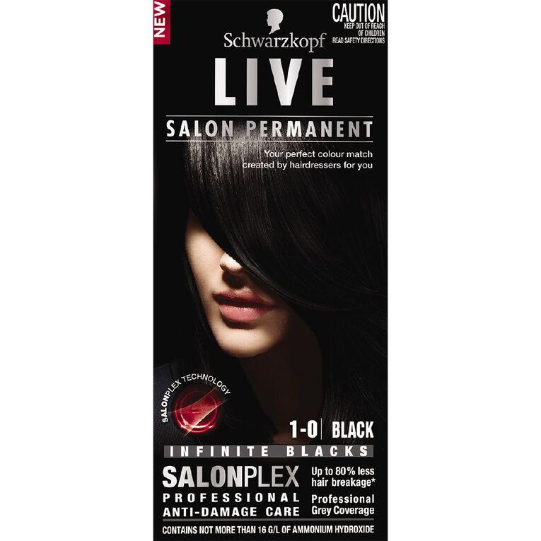 Schwarzkopf Live Salon Permanent 1-0 Black, , hi-res