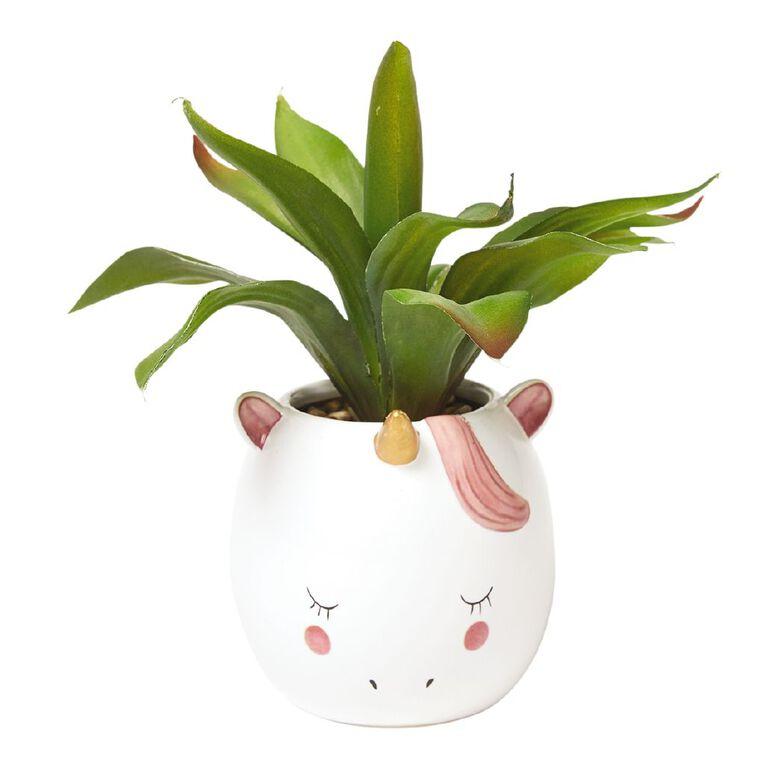 Living & Co Artificial Unicorn Succulent White, , hi-res