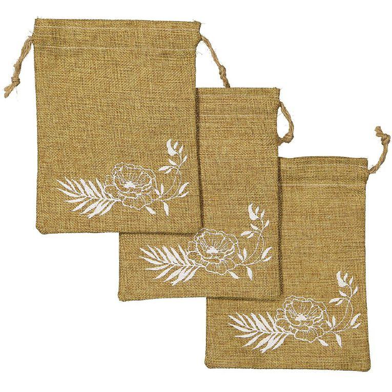 Party Inc Hessian Favour Bag 20cm x 15cm 3 Pack, , hi-res