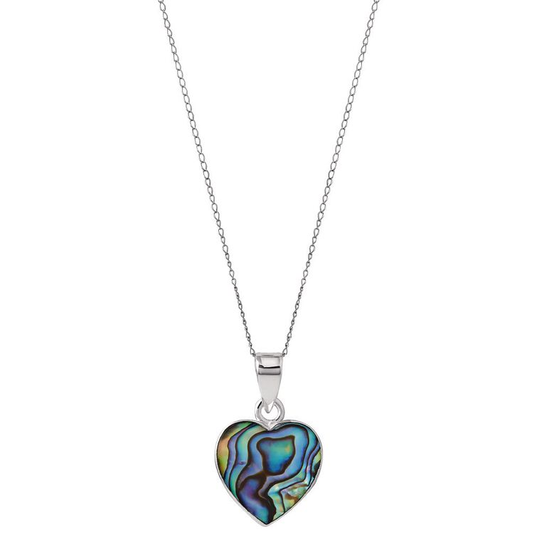 Sterling Silver Paua Heart Pendant 15mm, , hi-res