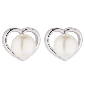 Sterling Silver CZ Fresh Water Pearl Heart Stud Earrings