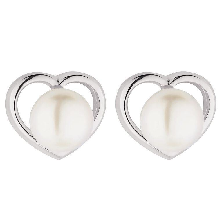 Sterling Silver CZ Fresh Water Pearl Heart Stud Earrings, , hi-res