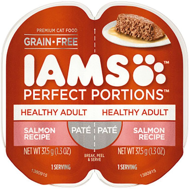 Iams Perfect Portions Wet Cat Food Healthy Adult Salmon Pate 2 x 37.5g, , hi-res