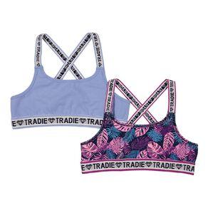 Tradie Girls' Cross Back Crop 2 Pack