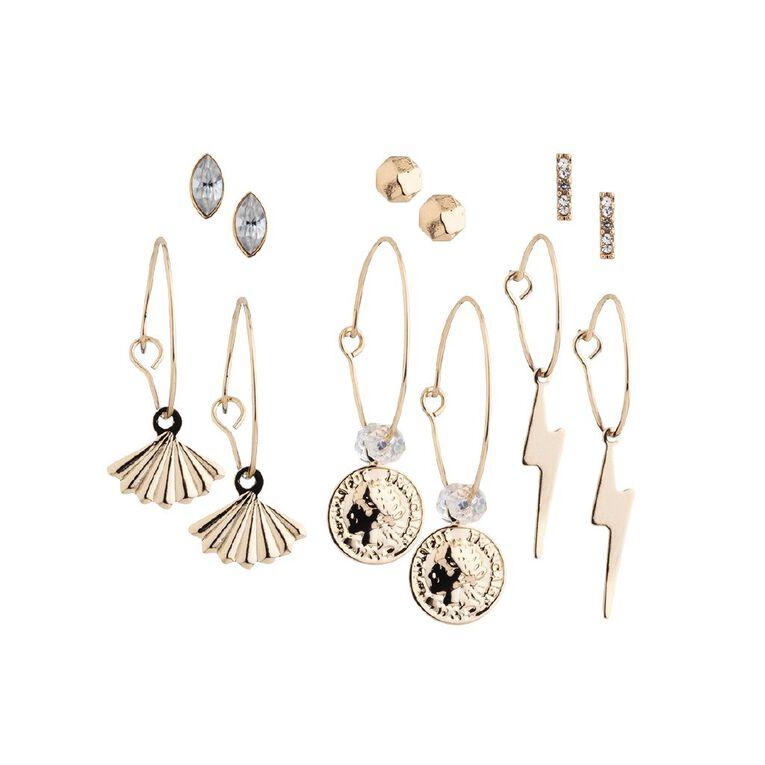 Basics Bolt Coin Earring, Gold, hi-res
