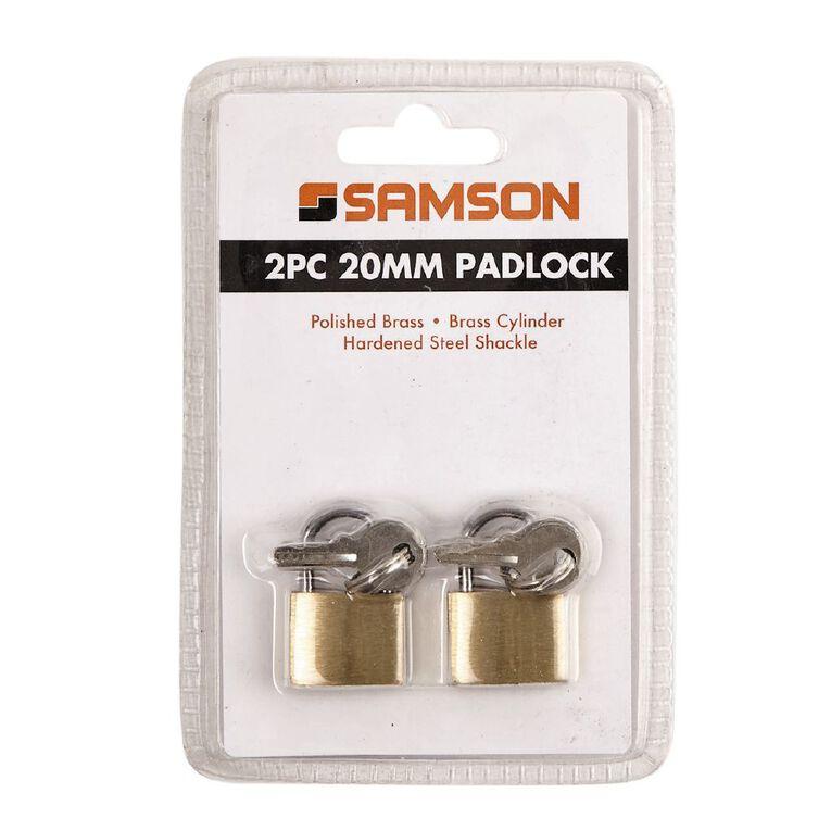 Samson Brass Padlock 20mm 2 Pack, , hi-res