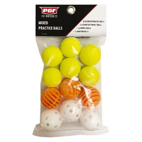 PGF Mixed Practice Ball Multi-Coloured 12 Pack