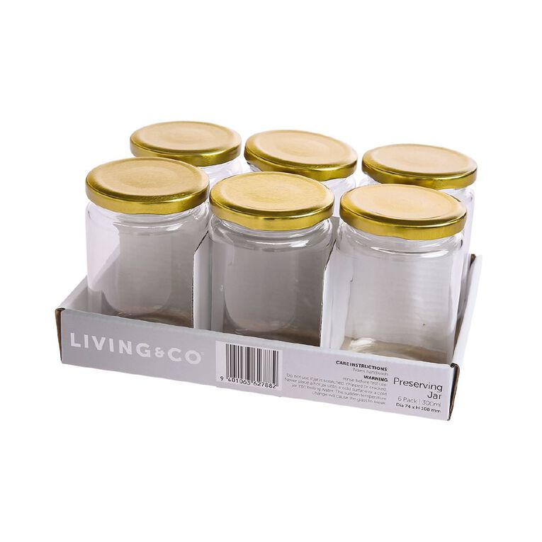 Living & Co Preserving Jar 6 Pack Clear 300ml, , hi-res