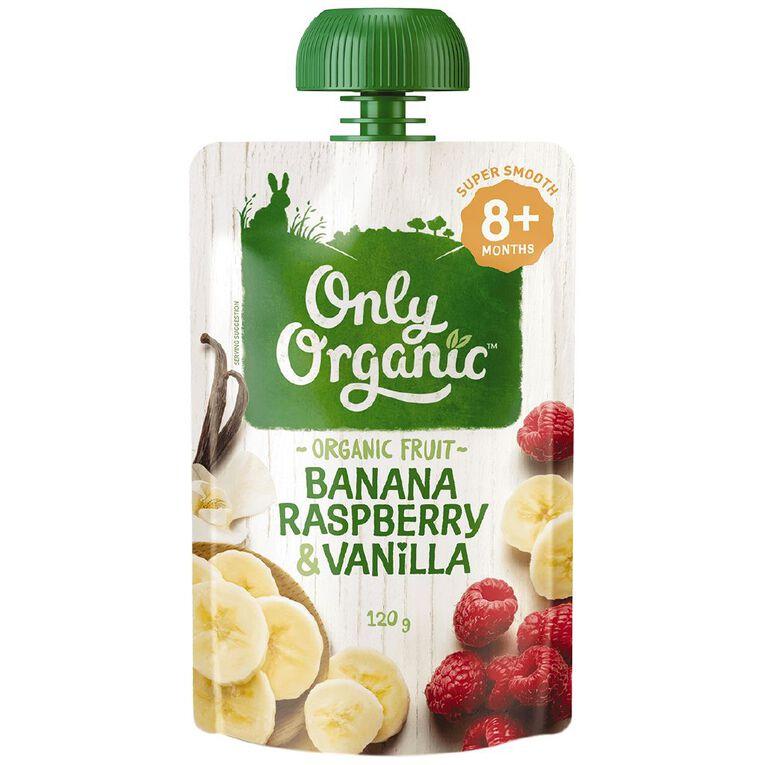Only Organic Banana Raspberry & Vanilla Pouch 120g, , hi-res