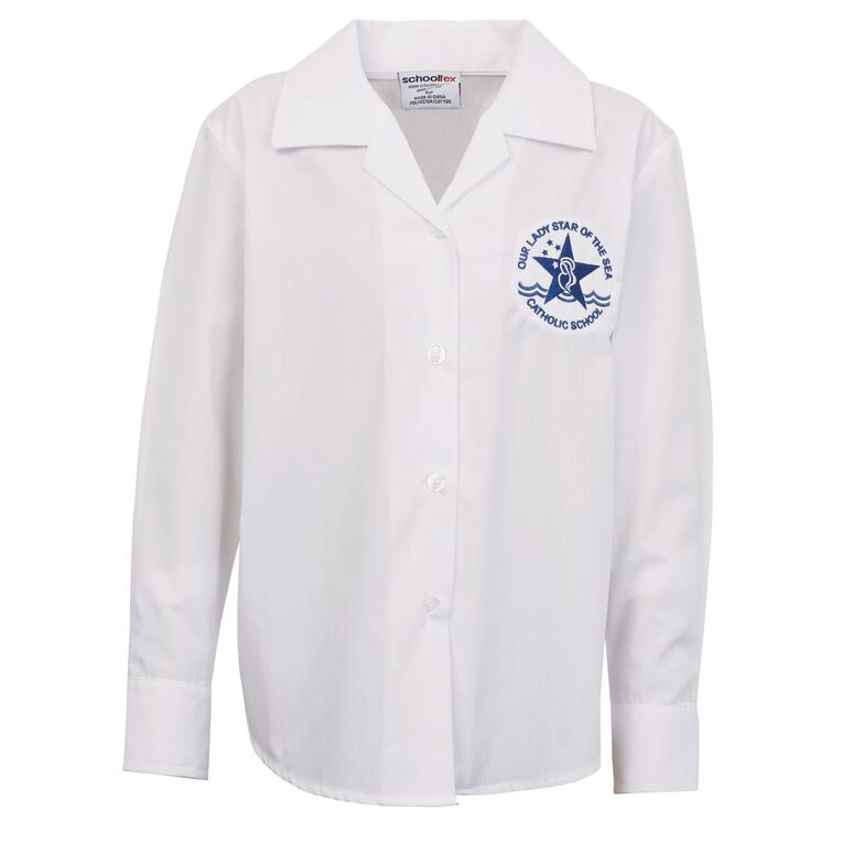 Schooltex Our Lady Star of the Sea Long Sleeve Blouse with Embroidery, White, hi-res