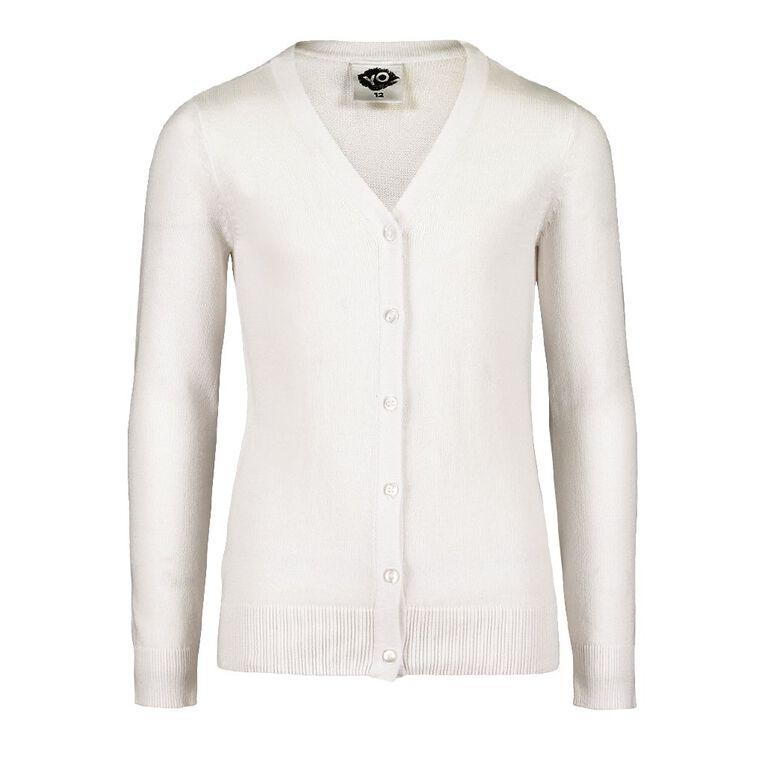 Young Original Girls' Plain Cardigan, White, hi-res image number null
