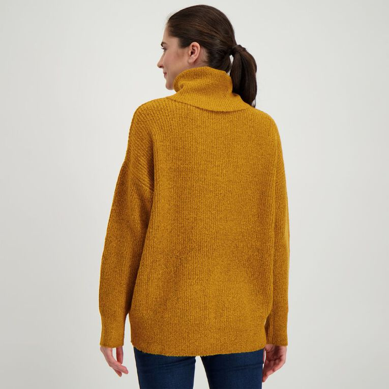 H&H Women's Spongy Knit Roll Neck Jumper, Yellow Dark, hi-res