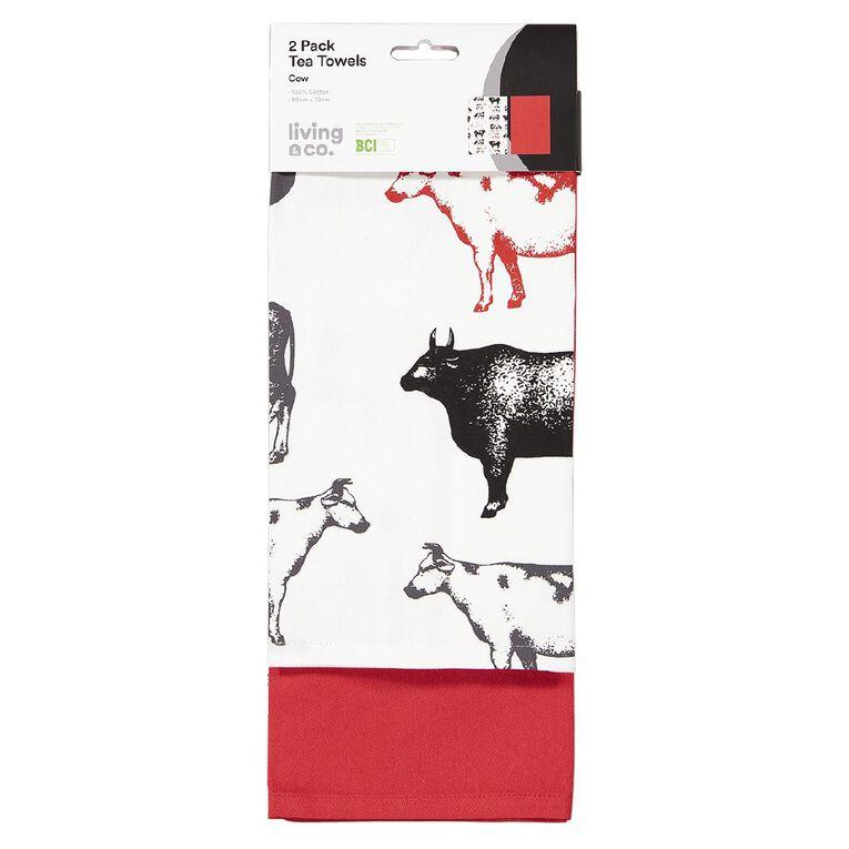Living & Co Tea Towel Cow 2 Pack 50cm x 70cm, , hi-res