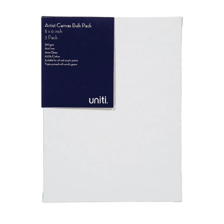 Uniti Blank Canvas 280gsm 8in x 6in 3 Pack, , hi-res